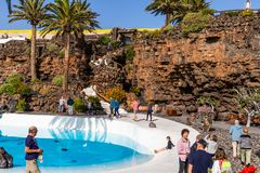 Jameos del Agua. LANZAROTE, SPAIN - FEBRUARY 06, 2019: Inside the famous volcanic cave formation Jameos del Agua on Lanzarote island Canary Islands stock photography