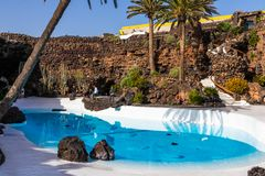 Jameos del Agua. LANZAROTE, SPAIN - FEBRUARY 06, 2019: Inside the famous volcanic cave formation Jameos del Agua on Lanzarote island Canary Islands stock images