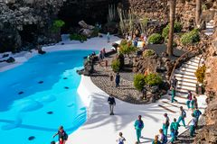 Jameos del Agua. LANZAROTE, SPAIN - FEBRUARY 06, 2019: Inside the famous volcanic cave formation Jameos del Agua on Lanzarote island Canary Islands royalty free stock images