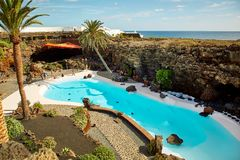 Jameos del Agua pool in Lanzarote Royalty Free Stock Photo