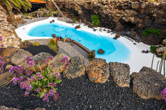Jameos del Agua pool in volcanic cave, Lanzarote, Spain Stock Photography