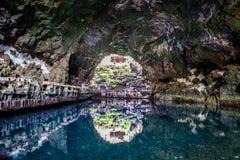 Jameos del Aqua, een verbazend die lavahol door Cesar Manrique wordt aangepast Royalty-vrije Stock Fotografie