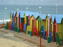 James Beach (South Africa). James Beach is a public beach on the South West coast of South Africa, known for it's colorful changing rooms and warm water Royalty Free Stock Photography