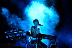 James Blake (electronic music producer and singer) performs at Primavera Sound 2015. BARCELONA - MAY 28: James Blake (electronic music producer and singer) stock photo
