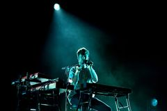 James Blake electronic music producer and singer performs at Primavera Sound 2015. BARCELONA - MAY 28: James Blake electronic music producer and singer performs stock image