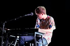 James Blake electronic music producer and singer performs at Primavera Sound 2015. BARCELONA - MAY 28: James Blake electronic music producer and singer performs royalty free stock photography