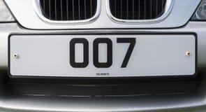 James Bond 007 εξατομικευμένος αριθμός πινακίδας αυτοκινήτου Στοκ Εικόνες