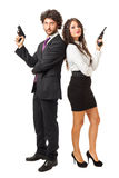 James Bond and his girlfriend Royalty Free Stock Image