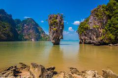 James Bond island in Andaman sea. The world famous James Bond island also known as Khao Phing Kan featuring the 20m tall islet known as Ko Tapu in Phang nga bay Stock Photography