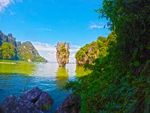 James Bond Island, baía Tailândia de Phang Nga fotografia de stock