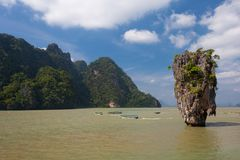 James Bond Island, de Baai van Phang Nga, Thailand Stock Afbeeldingen