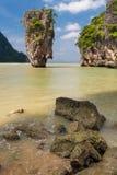 James Bond Island, Ko Tapu Rock. Beautiful nature in Thailand, Phuket islands. James Bond Island, Phang Nga Bay. Big rock Ko Ta Pu Stock Photos