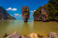 James Bond island Koh Tapu. Khao Phing Kan featuring the 20m tall islet known as Ko Tapu in Phang nga bay in thailand. It is also known as the James Bond island Royalty Free Stock Image