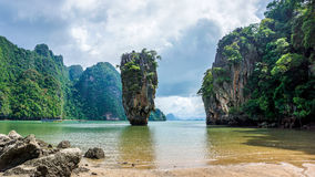 James Bond island limestone rock Khao Phing Kan island Royalty Free Stock Photos