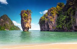 James Bond island near Phuket in Thailand. Famous landmark Royalty Free Stock Photos