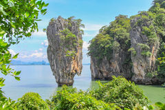 James Bond Island nella baia di Phang Nga, Tailandia Fotografia Stock Libera da Diritti