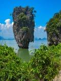James Bond Island op de Baai van Phang Nga, Thailand stock foto