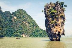 Ko Tapu rock on James Bond Island, Phang Nga Bay in Thailand. James Bond Island on Phang Nga Bay, Thailand Stock Photos