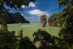 James Bond Island, Phuket - Thailand. Beautiful nature of Thailand. Ko Tapu rock, Phang Nga Bay, James Bond Island. Phuket Royalty Free Stock Images