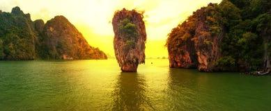 James Bond island sunset. Panoramic photography. Famous travel destination, Khao Phing Kan, Ko Tapu, Phang Nga Bay, Andaman Sea, Thailand. Exotic tropical Royalty Free Stock Image