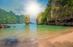 James Bond island in Thailand. Beautiful paradise place on James Bond island in Thailand, in summer holiday Stock Image