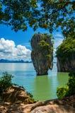 James Bond Island Thailand. Colorful variant of Tapu Island (popularly called James Bond Island). Tapu Island at Phang Nga Bay near Krabi and Phuket. Thailand Stock Photo