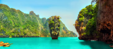 James Bond island, Thailand. James Bond island, Khao Phing Kan Pang Nga bay. Thailand island Stock Photo