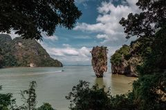 James Bond Island, Thailand. Popular tourist destination. Vacation in sunny Asia. Excursion between the islands of Pang. Nga Bay. Activities and adventures stock image