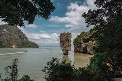 James Bond Island, Thailand. Popular tourist destination. Vacation in sunny Asia. Excursion between the islands of Pang. Nga Bay. Activities and adventures stock images