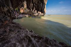 James Bond Island, tourists on boats.Thailand Royalty Free Stock Images