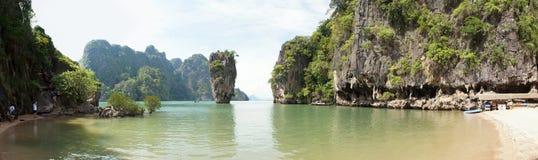 James Bond (Ko Tapu) island cove panorama. Thailand Stock Images