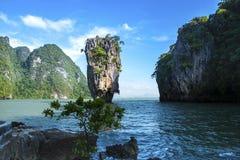 James Bond stone Island, Phang Nga, Thailand. Royalty Free Stock Photography