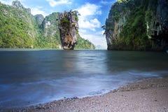 James Bond stone Island, Phang Nga, Thailand. Stock Images