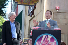 James Cameron, Arnold Schwarzenegger imágenes de archivo libres de regalías