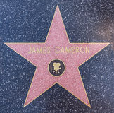 James Cameron star. HOLLYWOOD - OCTOBER 8, 2015: James Cameron's star at the Walk of Fame. He's nominated for Best Director at the Academy Awards for his movie royalty free stock photo