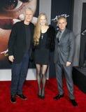 James Cameron, Suzy Amis Cameron and Christoph Waltz royalty free stock image