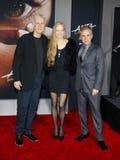 James Cameron, Suzy Amis Cameron en Christoph Waltz stock fotografie