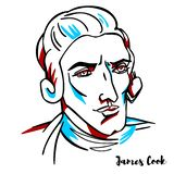 James Cook Portrait. James Cook engraved vector portrait with ink contours. British explorer, navigator, cartographer, and captain in the Royal Navy vector illustration
