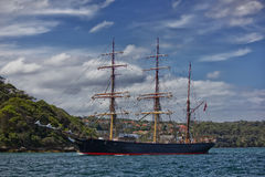 James Craig. SYDNEY,AUSTRALIA – NOVEMBER 17,2012: Tall ship James Craig returns with day-trippers on November 17,2012 in Sydney, Australia. One of four c royalty free stock photo