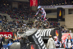 James Dabill. Compete at Trial Indoor of Barcelona, on February 9, 2014, in Palau Sant Jordi stadium, Barcelona, Spain. Toni Bou was the winner Stock Images