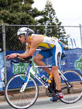 James Deane que dá um ciclo no SA Ironman 2008 Fotografia de Stock