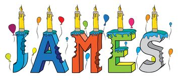 Free James First Name Bitten Colorful 3d Lettering Birthday Cake With Candles And Balloons Stock Photography - 105402552