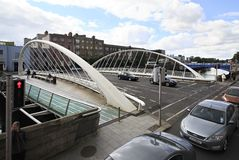 James Joyce Bridge and River Liffey Royalty Free Stock Photography