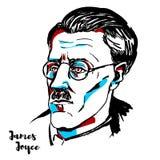 James Joyce Portrait. James Joyce engraved vector portrait with ink contours. Irish novelist, short story writer, and poet vector illustration