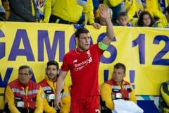 James Milner-spelen bij de Europa gelijke van de Ligahalve finale tussen Villarreal CF en Liverpool FC Royalty-vrije Stock Foto's