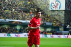 James Milner-spelen bij de Europa gelijke van de Ligahalve finale tussen Villarreal CF en Liverpool FC Royalty-vrije Stock Afbeeldingen