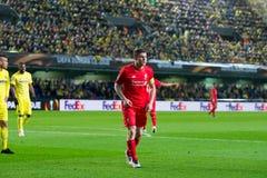 James Milner-spelen bij de Europa gelijke van de Ligahalve finale tussen Villarreal CF en Liverpool FC Stock Foto's