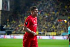 James Milner-spelen bij de Europa gelijke van de Ligahalve finale tussen Villarreal CF en Liverpool FC Stock Foto