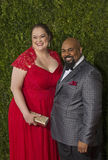 James Monroe Iglehart at the 2015 Tony Awards. Previous Tony-winner James Monroe Iglehart (Aladdin) arrives on the red carpet with wife Dawn, for the 69th Annual Royalty Free Stock Image