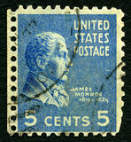 James Monroe US Postage Stamp. UNITED STATES OF AMERICA - 1ST MARCH 2016: A used postage stamp printed in America depicting an image of fifth President of the Royalty Free Stock Image